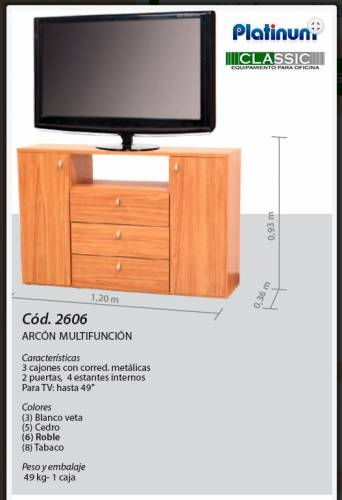ARCON MULTIFUNCION PLATINUM - 1.20 X 0.93 X 0.36 M - COD 2606